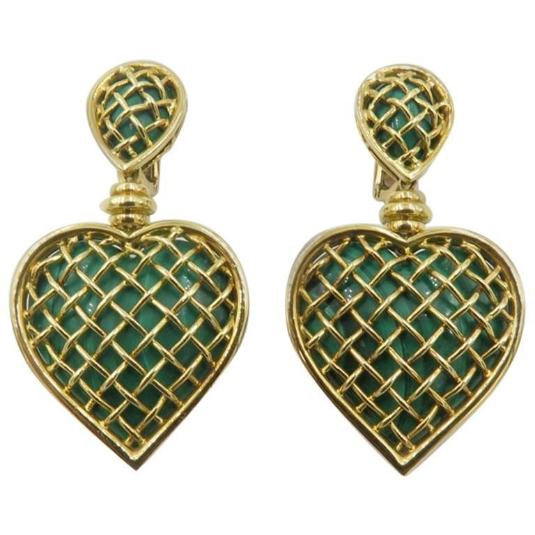 Boucheron Malachite Gold Heart Shaped Earrings For