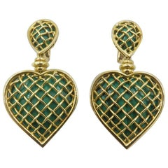 Boucheron Malachite Gold Heart Shaped Earrings