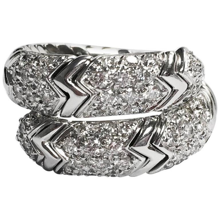 Bulgari Spiga Diamond and White Gold Flexible Snake Ring