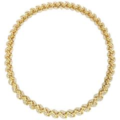 French Diamond Choker Necklace with 10.00 Carats in 18 Karat Yellow Gold