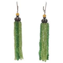 Marina J Tsavorite Peridot Citrine Diamond Silver Tassel Earrings
