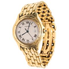 1980s Cartier Cougar 18 Karat Yellow Gold Watch