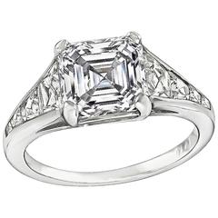 Stunning GIA Certified 2.50 Carat Asscher Cut Diamond Engagement Ring