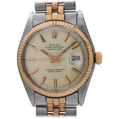 Rolex Stainless Steel Rose Gold Datejust Wristwatch Ref 1601, circa 1972
