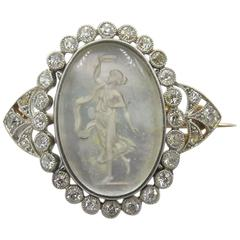 Beautiful Antique Carved Reverse Crystal Diamond Mother-of-Pearl Pin