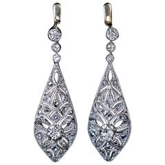 Antique Edwardian Bow Motif Diamond Platinum Gold Drop Earrings