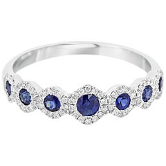 Blue Sapphire Round Diamond Halo Gold 7 Stone Stackable Fashion Band Ring