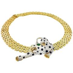 Diamond Onyx Emerald Yellow Gold Panther Choker Necklace