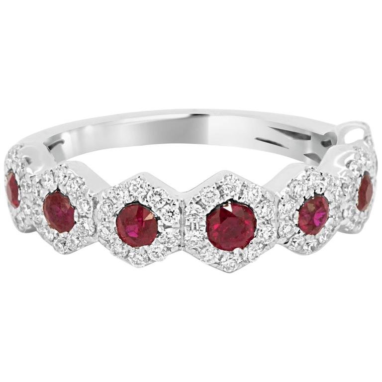 Ruby Diamond Halo Gold Band Ring