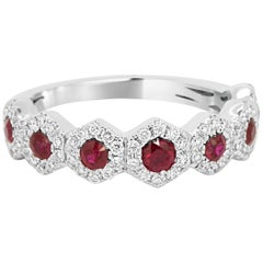 Ruby Round Diamond Halo Gold Stackable Fashion Band Ring