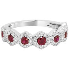 Ruby Diamond Halo Gold Band Ring