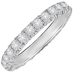 Marisa Perry Four Point Micro Pave Diamond Platinum Eternity Band Ring