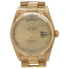 Rolex Yellow Gold Day Date self winding Wristwatch Ref 18038, circa 1986