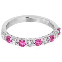 Pink Sapphire and Diamond Gold Band Ring