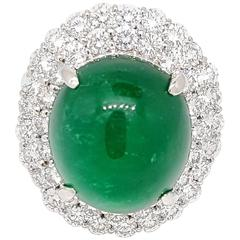 24 Carat Emerald Cabochon Ring with 4.50 Carat of Diamonds in Platinum