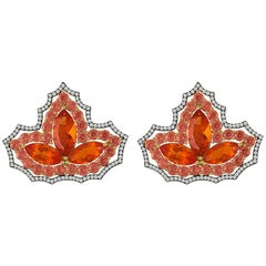 Extraordinary Mexican Opal, Orange Sapphires, Diamond Earrings in 18 Karat Gold