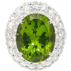 Large Oval Peridot Diamond Platinum Halo Ring