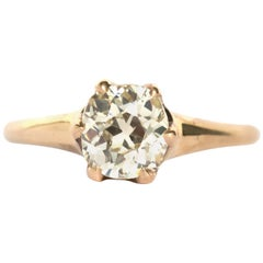 1800s Victorian 1.06 Carat GIA Certified Diamond Yellow Gold  Ring