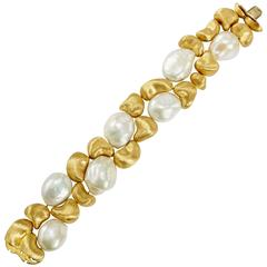 Yvel Freshwater Baroque Pearl and 18 Karat Yellow Gold Double Row Bracelet