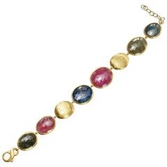 Yvel Multicolored Sapphire Bracelet 18 Karat Yellow Gold 60.00 Carats