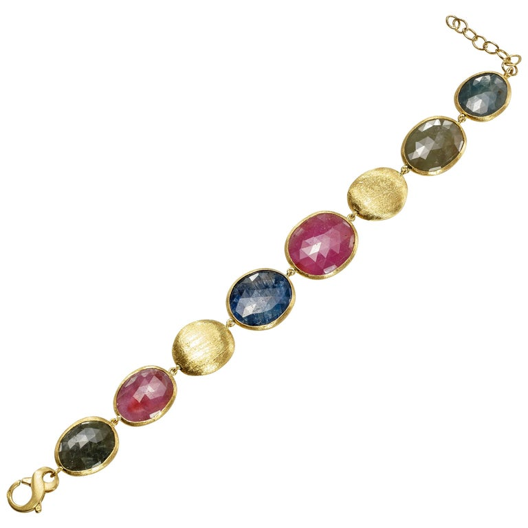 Yvel Multicolored Sapphire Bracelet 18 Karat Yellow Gold 60.00 Carats