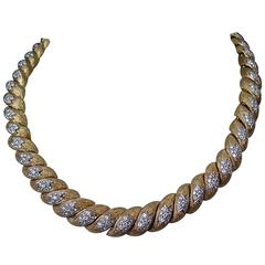Diamond Textured Gold Link Necklace