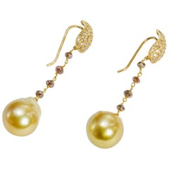 Yvel Gold South Sea Pearl Earrings 18 Karat Gold Cognac Diamonds E-1-BRQBRDGY