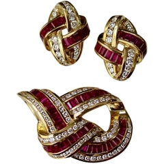 Charles Krypell Ruby and Diamond Brooch and Earring Set