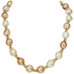 Yvel 18 Karat Yellow Gold Baroque Pearl and Diamond Necklace 4.14 Carat