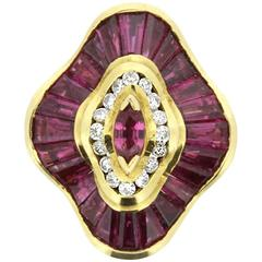 Convertible Ballerina-Style 4.50 Carat Ruby and Diamond Ring/Pendant