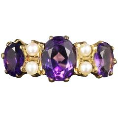 Antique Victorian Amethyst Pearl Ring 9 Carat Gold