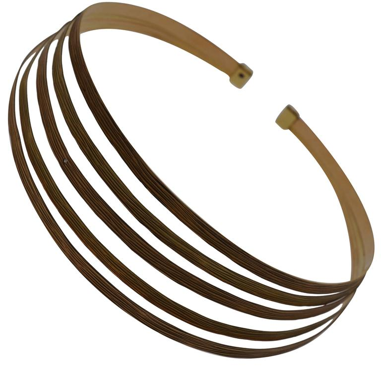 Roberto Coin Yellow and Rose Gold Bark Finish Choker Necklace
