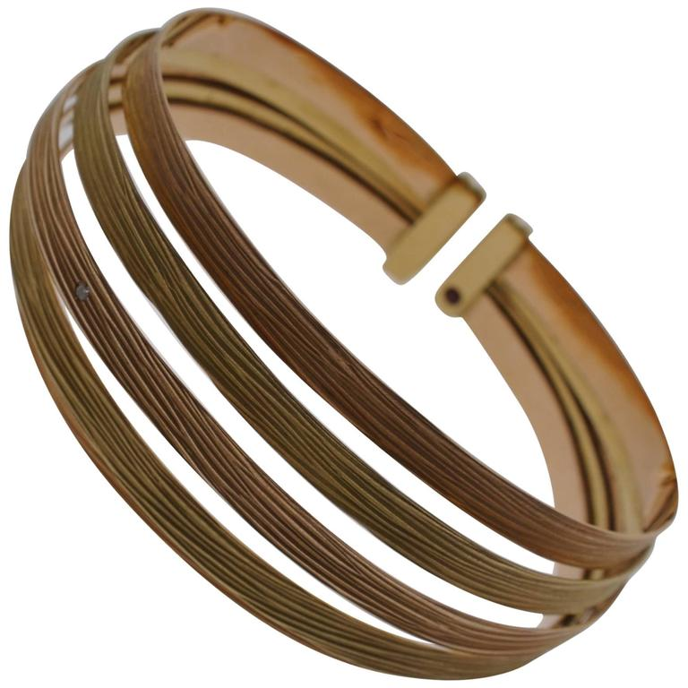 Roberto Coin Yellow and Rose Gold Bark Finish Cuff Bracelet