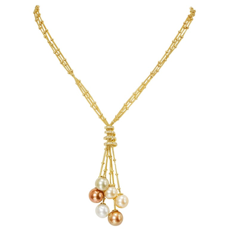Yvel Multicolored South Sea Pearl Necklace 3 Strand 18K Yellow Gold and Diamonds