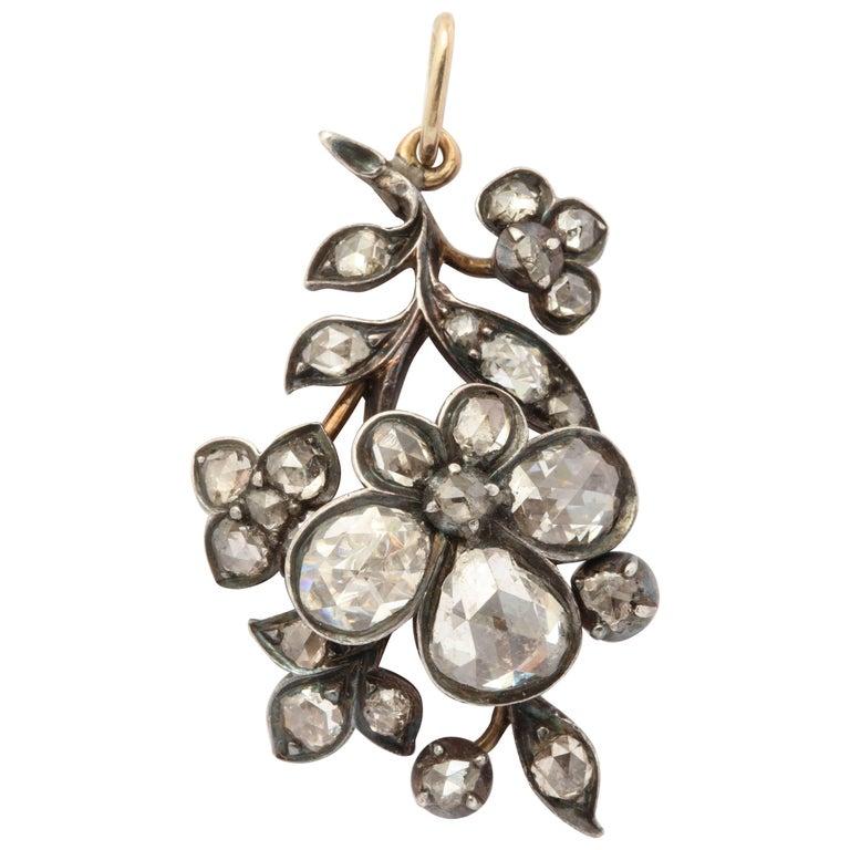 Stunning Georgian Rose Cut Diamond Pendant