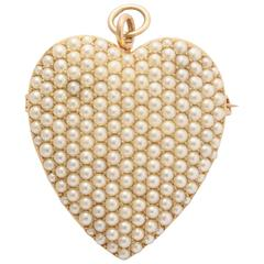 Large Seed Pearl Gold Heart Pendant and Brooch