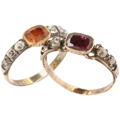 Nearly Matched Pair of Georgian Gemstone and Diamond Rings