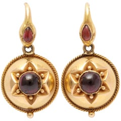 Victorian Garnet Snake's Head Earrings