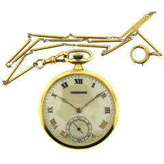 18 Karat Yellow Gold Tiffany & Co. Pocket Watch with Chain