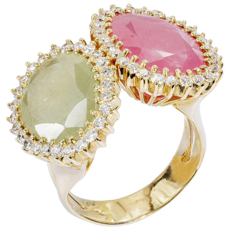 Yvel Pink and Green Sapphire Ring Diamonds and 18 Karat Gold 1.68 Carat R-2-SA