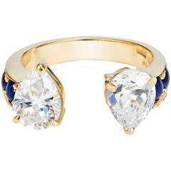 Dubini Theodora White Topaz Sapphire Yellow Gold Ring