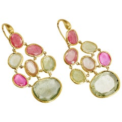 Yvel Pink and Green Sapphire Earrings 18 Karat Yellow Gold 40.00 Carat