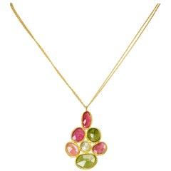 Yvel Natural Colored Sapphire 18 Karat Yellow Gold Pendant Necklace 10.00 Carat
