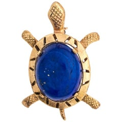 Blue Lapis Lazuli Cabochon Sea Turtle Brooch Pin
