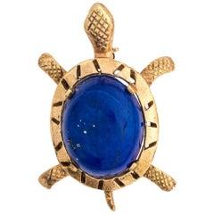 Blue Lapis Lazuli Cabochon Sea Turtle Brooch Pin