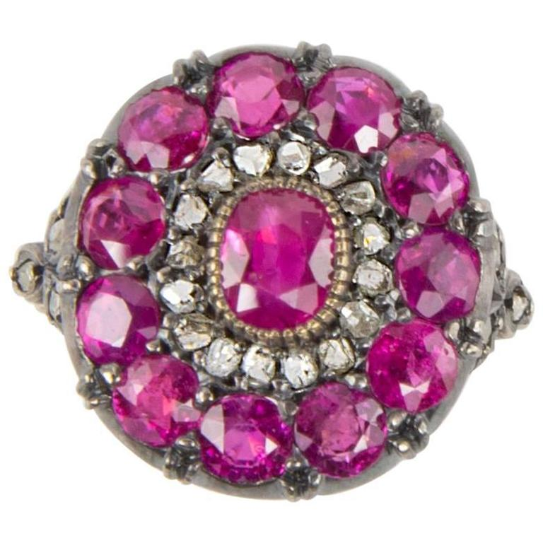 Beautiful Ruby Rose Cut Diamond Cluster Ring