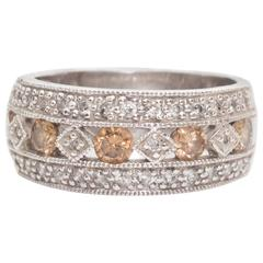 White and Brown Diamonds Gold Triple Row Ring