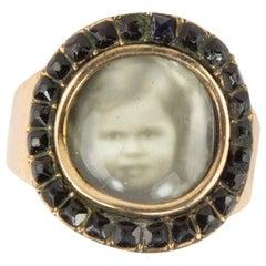 Antique Belle Époque Miniature Portrait Jet Gold Ring Estate Fine Jewel