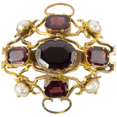 Antique Edwardian Garnet Pearl Gold Brooch Pin
