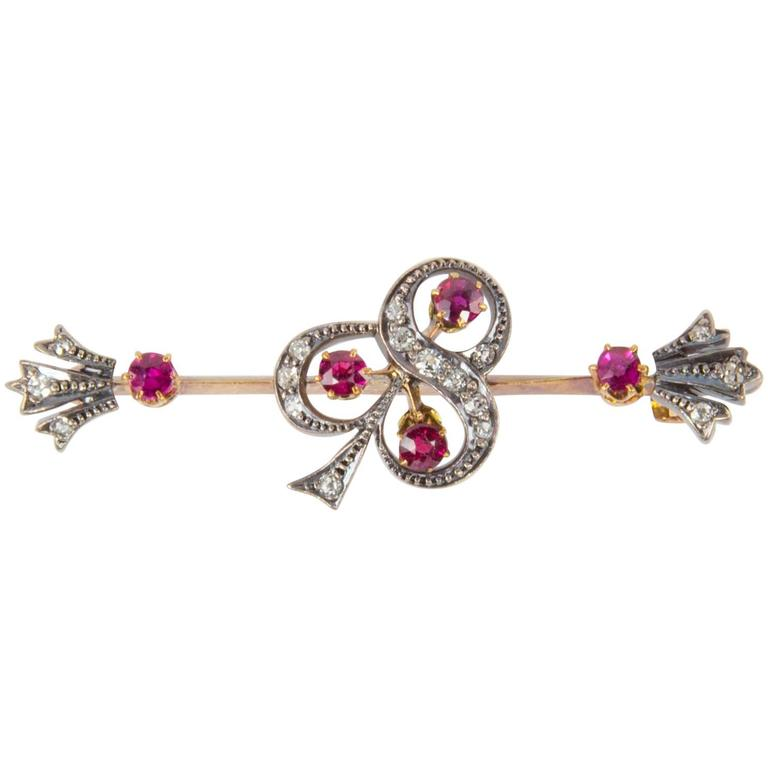 Sublime Antique Ruby and Diamond Gold Bar Pin Brooch